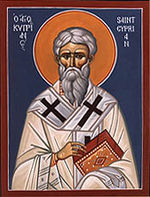 Cyprian, painted as an icon - Saint Cyprian - controversial bishop of Carthage