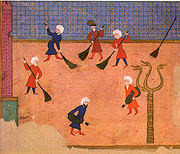 Snake Column - Ottoman miniature from the Surname-i Vehbi - in a celeberation at the Hippodrome in 1582 - 130 years after the falling of the City of Constantinople - note - the heads are all still attached