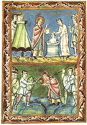 Medieval painting Saint Boniface - Baptising and Martyrdom from Sacramentary of Fulda - 11Century - This is Boniface, the favorite steward of the very rich lady Aglae