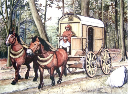 Illustration of a wagon of the Cursus Publicus - kind of looks like a primitive subway train car